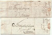 1735/7 2 x ITALY PRE-STAMP LETTERS LIVORNO TO FIRENZE - ITALIE - FLORENCE ITALIA