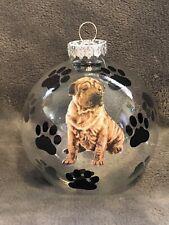 """Hand Made Shar Pei Dog 3"""" Glass Christmas Ornament/Ball"""