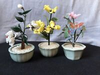 Three Vintage Small Decorative Oriental Bonsai