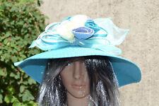 Chapeau bibi capeline mariage Bleu blanc sisal Cabourg ZAZA2CATS.fr new