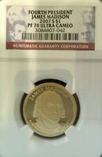 2007-S JAMES MADISON DOLLAR GRADED PF 70 ULTRA CAMEO BY NGC