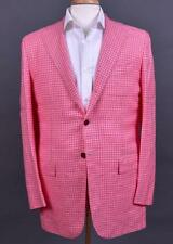 $8300 NWT Kiton Pink White Plaid Dandy Sport Coat Jacket Linen Cashmere SIlk