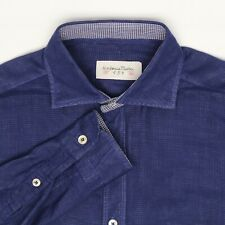 Tintoria Mattei 954 Mens Dress Shirt 15/34 Dark Blue Check Sheer Cotton 2 Ply