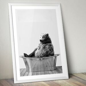 Bear in a Bath Art Print, Bear Poster, Home Decor Wall Art