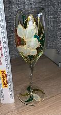 Hand painted wine glass, unusual stem