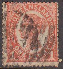(XR7) 1896 QLD 1d vermillion QVIC (E)