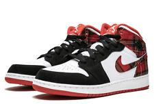 Air Jordan Retro Mid 1 Plaid Red Black White Boy's PS Size Y3  # PS 640734-607