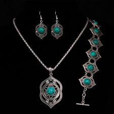 tibétain Turquoise Bracelet boucles d'oreilles collier ensemble bijoux Pendentif