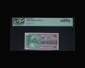 PCGS 65PPQ 5c US Military Payment Certificates Series 661 MPC 5 cents Gem Unc