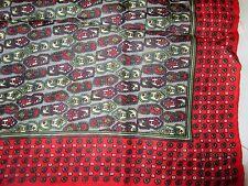 "Vintage Red Gray Beige Dots Ladies Scarf or Bandana 23"" Square Geometric"