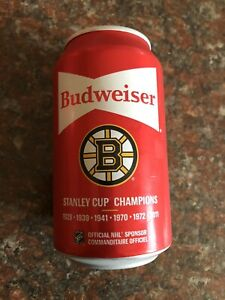 6x 2020 Limited Edition Budweiser Stanley Cup Beer Can Bottom Opened Bruins ++++