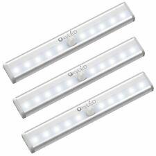 10 LED Battery PIR Motion Sensor Under Cabinet Light Strip Bar Night Lamps Home