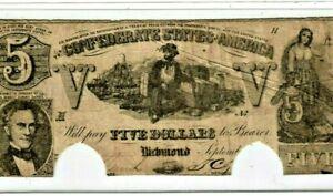 "$5 ""CONFEDERATE"" 1800'S (RARE) ""CONFEDERATE"" 1800'S $5 ""CONFEDERATE"" 1800'S"