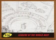 Mars Attacks The Revenge Bronze [25] Pencil Art Base Card P-34 Leaders of the W