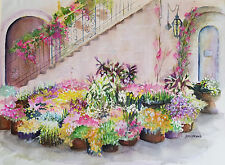 """Suzanne Obrand, Holocaust Survivor, Watercolor """"Flower Pots in the Courtyard #2"""""""
