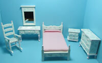 Dollhouse Miniature Wood Quilt Making Table with Red White /& Blue Fabric T6196