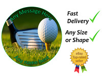 "Golf personalised cake topper round 7.5"" wafer or icing sheets edible"