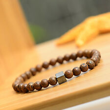 Men Women 6MM Wood Beads Cube Hematite Healing Balance Bracelets Jewelry Gift