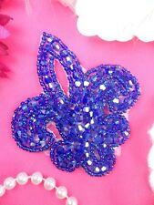 "JB165 Fleur De Lis Purple Beaded Applique Motif 3"" DIY Iron On (JB165-pur)"