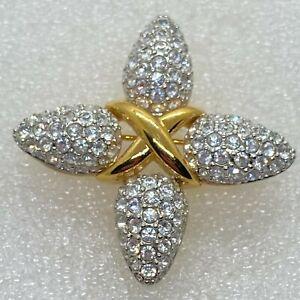 Signed SWAROVSKI Swan Vintage CROSS BROOCH Pin Rhinestone Costume Jewelry