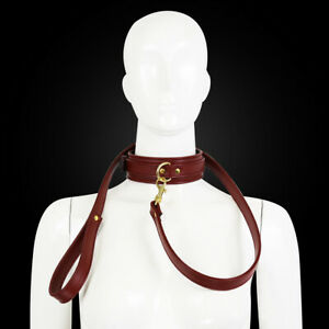 Sexy Neckband Bondage PU Leather Collar Choker Gold With Leash Necklace Toy
