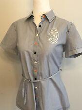 "Helly Hanson Woman's Shirt "" Royal Norwegian Yacht Club"" Sz Med Navy Pinstripes"