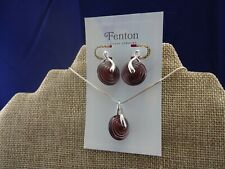 Fenton Glass Necklace  & Earrings Set Sterling Silver Paper Lantern Design