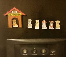Who's in the Doghouse? Family of 6 Unique Miniature Refrigerator Magnet Set USA