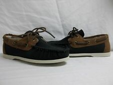 Cole Haan Size 7 M Dominick Black Tan Canvas Loafers New Mens Boat Shoes NWOB