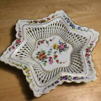 "Antique Schierholz Dresden Style Handpainted Reticulated Star Bowl 8 1/2""x1 1/2"""