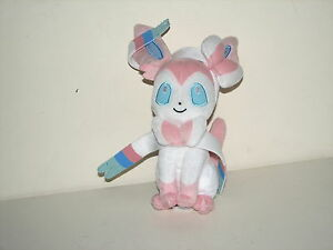 Tomy Pokemon Fairy Eevee Evloution Pink White Sylveon Plush Stuffed Doll 10""