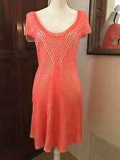 Free People Ribbed Knit Flared Sweater Dress Neon Pink Stripe Short Sleeve Sz L