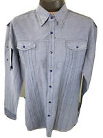 191 Unlimited Mens Blue Button Down Long Sleeve XL Shirt NWOTS