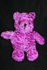 "TEDDY BEAR 9"" Purple Plush Soft Stuffed Animal Brown Eyes Black Nose Toy Sitting"