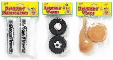 Lot de 2 jouets CHIOT CHIEN squeaky vinyle burber poulet chop Football Baseball