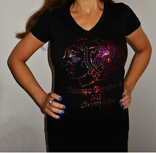 Chicago Blackhawks  Adult SMALL  Black Ladies V NECK with Pink/Purple Sequins