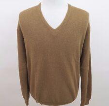 Arte Vivo Miguelito 100% Baby Alpaca Cusco Peru Solid Brown V-Neck Sweater Large