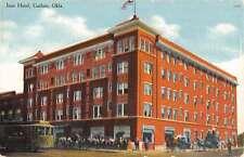 Guthrie Oklahoma Ione Hotel Street Scene Trolley Antique Postcard K15585