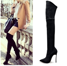 US3-11 Womens Over Knee Thigh Boots Stilettos Slim Fit Pointed Toe Shoes 3Colors