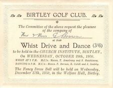Co Durham, BIRTLEY Golf Club - Invitation to Dance & Whist Drive,  29th Oct 1930