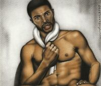 Print Of Male Oil Painting - Just A Man - Black Art Pin Up Figure Artist Andreev