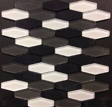 Carbon Blend Hex White Grey Black Glass Mosaic Kitchen Backsplash Bathroom Tile