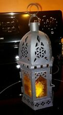 "10"" Black Metal Moroccan GOLD embossed GLASS Hurricane TEA Candle Lantern Holder"