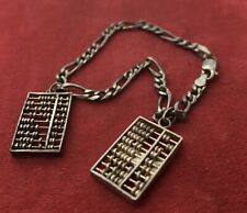 """Vintage Sterling Silver Bracelet 925 With Abacus Charms 1950s Pendants 7"""""""