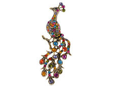 Oriental Bird Peacock Pins Brooch Colorful Diamante Rhinestone Brass Gold Tone