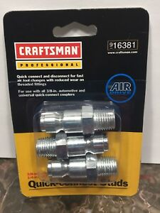 """Craftsman Professional Quick Connect Studs 16381 3/8-in, 1/4"""" NPT Male Threads"""