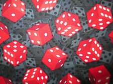 DICE RED WHITE BLACK INLAID DIE GAMING COTTON FABRIC FQ