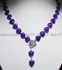 Tibetan silver Love Clasp 12MM Purple Amethyst Heart Gems Beads Pendant Necklace