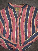 VTG 90s Duck Head Men's Size XL Vertical Striped Color Block Button Up Shirt EUC