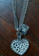 "GUESS Necklace ""HEART WITH RHINESTONES"" &  GUESS Charm -Triple Chain"